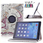 360 Rotating Folio Stand Smart Leather Map Case Cover For iPad 2 3 4 Air Mini