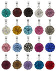 Sterling Silver Shamballa Ball Pendants with PRECIOSA Crystals Sizes 8mm 12mm