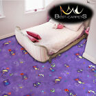CHILDREN'S CARPET 'HAPPY' violet Kids Play Area Bedroom, girls Fun Rug, ANY SIZE