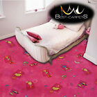 CHILDREN'S CARPET 'HAPPY' Pink Kids Play Area Bedroom, girls Fun Rug, ANY SIZE