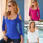 Women Lady Long Sleeve Sexy Slim Off Shoulder Blouse Stretch T-Shirt Solid Tops