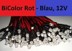 Verkabelte 3mm Bi-Color LED ROT - BLAU DC 12 Volt |10|20|25|50|