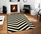Large Indoor Outdoor 8x10 Courtyard Black White ZigZag Area Rug Chevron Rugs 5x8