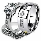 His & Her Stainless Steel Vintage Bridal Ring Set & Men's Zirconia Wedding Band