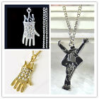 New MJ Michael Jackson Crystal Glove Figural Gold/Silver Plated Pendant Necklace