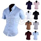 Men V-Neck Short Sleeve T Shirt Solid Color Casual Stand Collar Tops M-3XL
