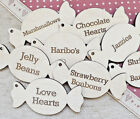 Wooden Personalised Sweet Shape Wedding Favours Jar Labels Engraved Sweets