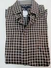 Cremieux Classics Brown Baby Blue Plaid 100% Cotton Long Sleeve Dress Shirt