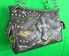 Western Mossy Oak Camo Purse Rhinestones Cross Chevron Real Tree Print Handbag N