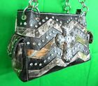 Western Mossy Oak Camo Purse Rhinestones Cross Chevron Real Tree Print Handbag K