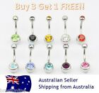 Double Gem Belly Bar 14g 316 Surgical Steel Button Navel Ring Gem Crystal Gold 2