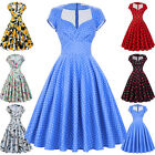 Plus Size Women Vintage 1950s Retro Swing Dress Party Short Party Evening  Dress
