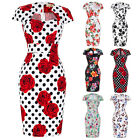 Womens Wiggle Pencil Vintage 50s Pin Up Floral Dress Ladies Party PLUS S-2XL-3XL