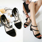Womens Casual Block Mid High Heels Peep Toe Sandals Strap Rivet Hollow Out Shoes