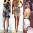 Sexy Women Sequins Deep V Neck Halter Evening Party Cocktail Club Mini Dress