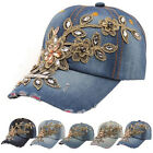Fashion Women Men Rhinestone Crystal Denim Hat Bling Baseball Caps Adjustable