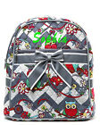 Personalized Gray Chevron Cutie Owl Quilted Kids Backpack Book Bag Monogram Name