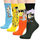 4 pairs Fashion Cotton Socks World Famous Art Painting Collection Starry Night