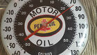 """Vintage Original 12"""" Round U.S.A. Pennzoil Motor Oil Thermometer"""