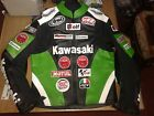 Green KAWASAKI Motorcycle Leather Men's Jacket Life Is Given Once Take it All
