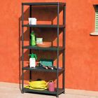 SHELVING AND RACKING - PLASTIC RACK 5 TIER SHELF UNIT - 5 BLACK STORAGE SHELVES
