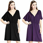 Lady Cover Up Short Sleeves Above Knee Party Dresses Kaftan Casual Shirt Dress