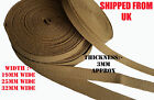 19 MM 25 MM 32 MM KHAKI COTTON CANVAS WEBBING BELT STRAP TAPE THICKNESS 3 MM