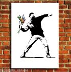 BANKSY FLOWER THROWER GRAFITTI CANVAS WALL ART PRINT PICTURE SMALL MEDIUM LARGE