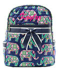 Personalized Monogram Name Multi Elephant Quilted Kids Backpack School Book Bag