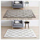 Modern Shaggy Floor Rug Cotton Patterned Luxury White and Grey