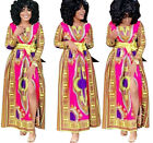 Women Long Sleeves Traditional African Print High Slit Long clubwear Party Dress
