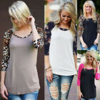 Fashion Womens Long Sleeve Tee Shirt Casual Blouse Loose Cotton Tops T Shirt NEW