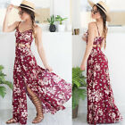 NEW Sexy High-split Womens Summer Vintage Floral Long Beach Dress Maxi Sundress
