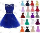 Stock Short Lace Bridesmaid Formal Gown Ball Party Evening Prom Dress Size 6-22