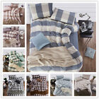 4Pcs Classical Checked Pattern Bedding Set Duvet Cover Fitted Sheet Piece Suit