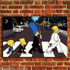 SIMPSONS ABBEY ROAD TV CANVAS PRINT WALL POP ART PICTURE SMALL MEDIUM LARGE