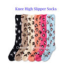 Women  Winter Socks Cozy Fuzzy LEOPARD Slipper Long Fleece Knee High Wholesale