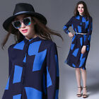 Spring/Autumn Fashion Womens Long Sleeve Commuter Geometric Loose Shirt Dress