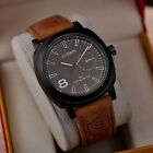 Men's Fashion Leather Stainless Steel Watch Sport Analog Quartz Wrist Watch
