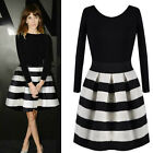 Womens Black White Stripes Round Neck Ladies Long Sleeve Flared Swing Mini Dress