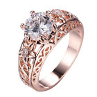 Size 5-9 Women's White Sapphire Band 10Kt Rose Gold Filled Engagement Party Ring