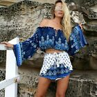 girl Women's autumn blue digital printing Flare Long Sleev Loose Brand TXSU