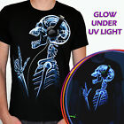 Rock sceleton - t-shirt Glow UV blacklight rave skull funny tee joke ultraviolet