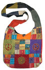 AT 111 Patchwork Bohemian Boho Embroidered Peace Sign Shoulder Bag Purse