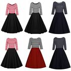 Plus Size Women 3/4 Sleeve Striped Rockabilly Swing Casual Formal Cocktail Dress
