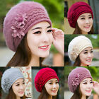 Womens Ladies Rabbit Fur Winter Warm Knitted Beret Beanie Hat Crochet Ski Cap