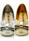 Girl's Wedding Party Shoes Sparkling Metallic Silver or Gold Color Toddler size