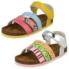 Girls Spot On Casual Hook And Loop Ankle Strap Mules - H0164