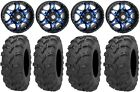 "STI HD7 14"" Wheels Blue/Black 28"" Bear Claw EVO Tires Yamaha Grizzly Rhino"