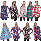 Ladies Womens Xmas Christmas Long Sleeves Swing Flared Dress Top Novelty Party